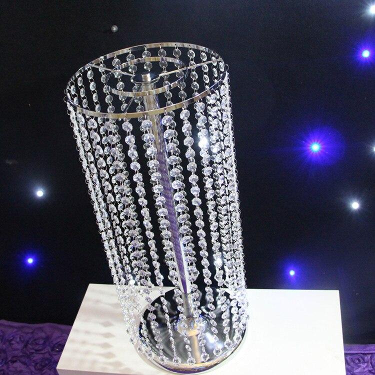 En gros cristal mariage fleur Vase titulaire Table centres de Table bougeoir décoration Chrismtas décoration métal Standl