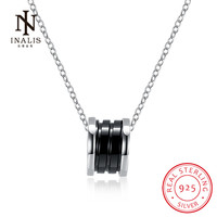INALIS Fashion Fine Jewelry 925 Sterling Silver Columnar Black White Ceramic Necklace Elegant Classical Gift For