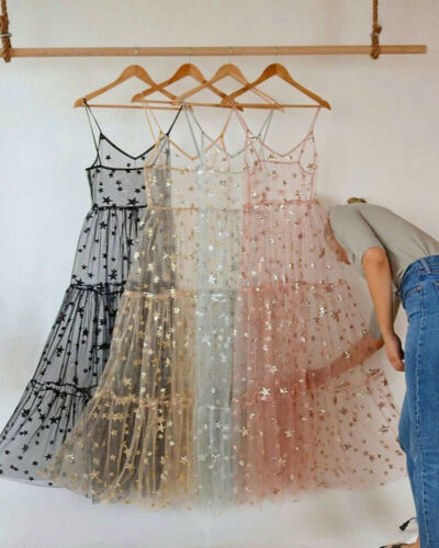 Womens Lace Mesh Spaghetti Straps See Through Cover Sexy See Through Baggy Ladies Stars Beach Bling Bling Long Dress