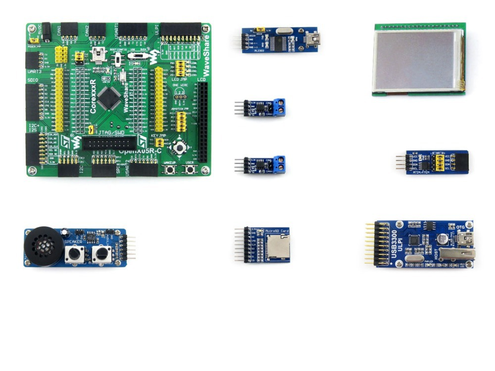 Modules Open205R-C Pack A = STM32 Board ARM Cortex-M3 STM32 Development Board STM32F205RBT6 STM32F205 + 8 Accessory Modules Kits xilinx fpga development board xilinx spartan 3e xc3s250e evaluation board kit lcd1602 lcd12864 12 modules open3s250e package b