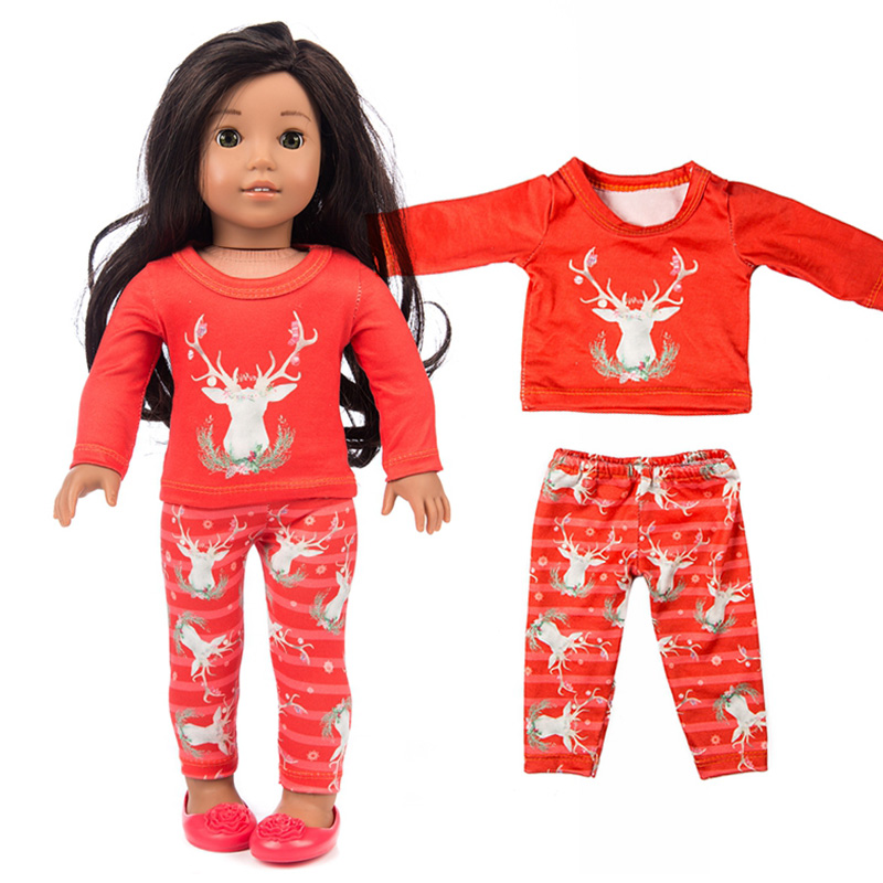 Happy Elfin New Baby Born 45cm American Girl Elk Suit Doll Clothes For Best Doll Accessories Girl Birthday Festival Gift [mmmaww] christmas costume clothes for 18 45cm american girl doll santa sets with hat for alexander doll baby girl gift toy