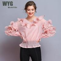 Luxury Runway Blouses 2019 Spring Japanese Style High Quality Pleated Ruffles Lace Patchwork Long Sleeve Silk Cotton Blouse Tops