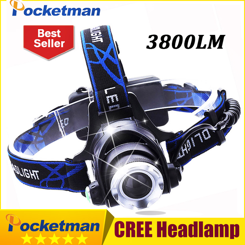 3800LM Headlight CREE T6 LED Head Lamp Headlamp Linterna Torch LED Flashlights Biking Fishing Torch for