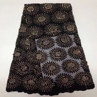Nigerian lace fabric 2018 high quality lace Black French Stones Net Lace Fabric/High Quality African Beaded Tulle G245 1