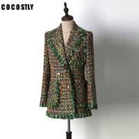 ВЗЛЕТНО посадочной полосы куртки для женщин верхняя одежда 2018 Роскошные Зеленый твид кисточкой с длинным рукавом карман дамы куртк