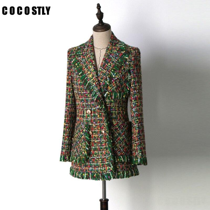 Взлетно посадочной полосы Куртки Для женщин верхняя одежда 2018 Роскошный зеленый твид кисточкой с длинным рукавом карман Женская куртка пал