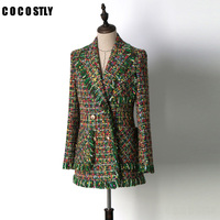 Runway Jackets Women Outerwear 2018 Luxury Green Tweed Tassel Long Sleeve Pocket Ladies Jacket Coat