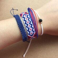 4pcs Bracelet Set Handmade Blue Red Weave Friendship Bracelets Women Multi Layers Wax String Bohemian Jewelry Adjustable