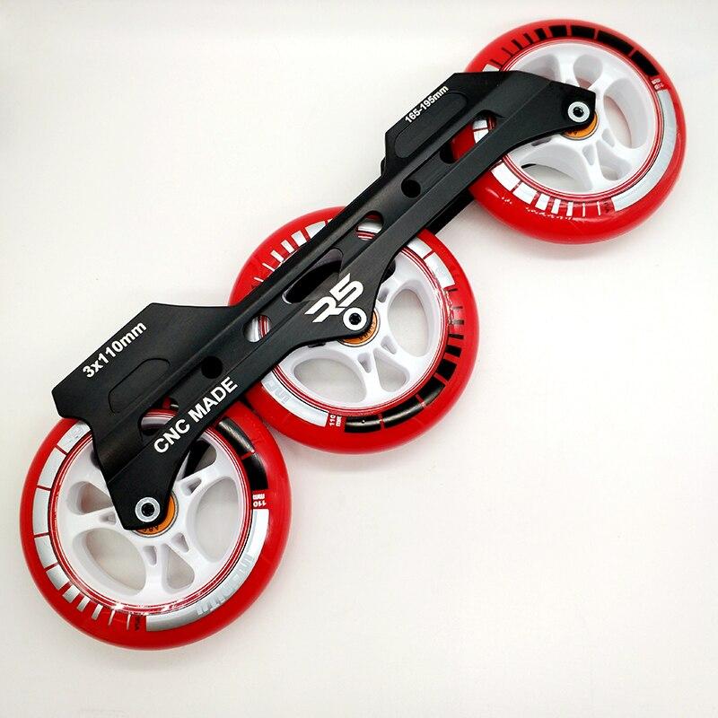 Livraison gratuite patins de vitesse cadre 3x110mm avec roues roulement de abec-9