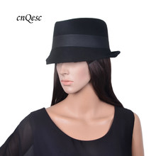 Wholesale New design black real Wool hat warm felt winter hat wedding church  trilby with gross c858601a949