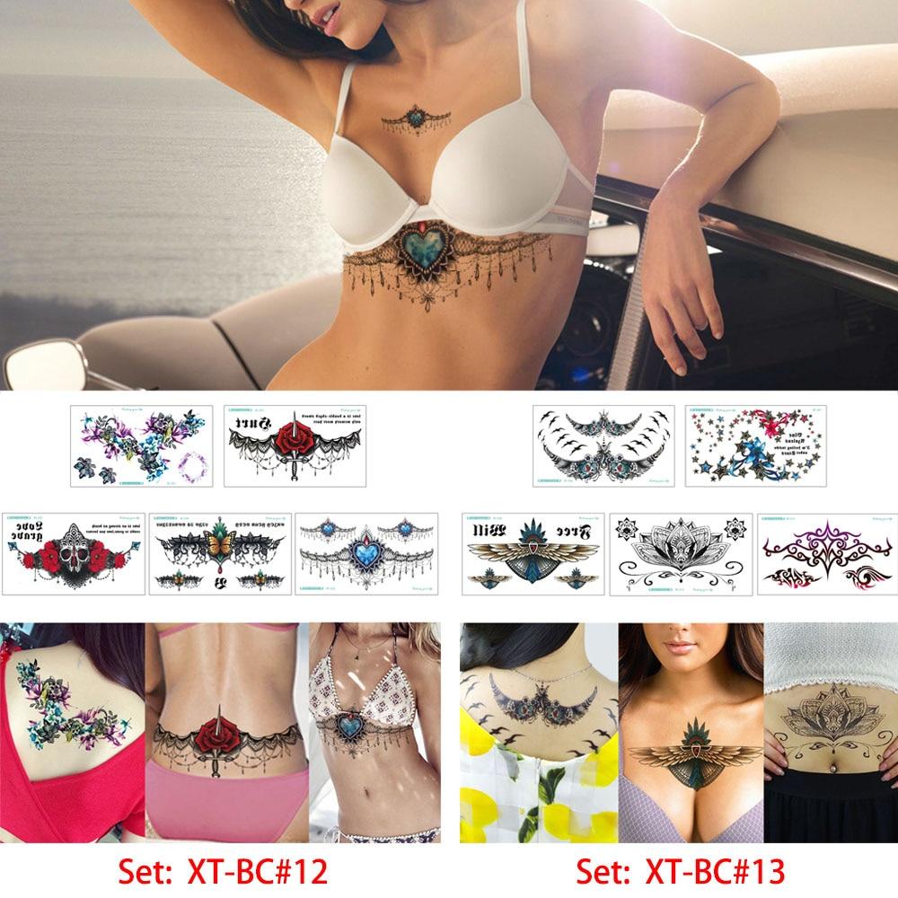 glaryyears 5 Sheets/set Sternum Tattoo Sticker Chest Jewelry Wing Lotus Decal Temporary Tattoo Cool XT-BC Body Art Sticker Henna