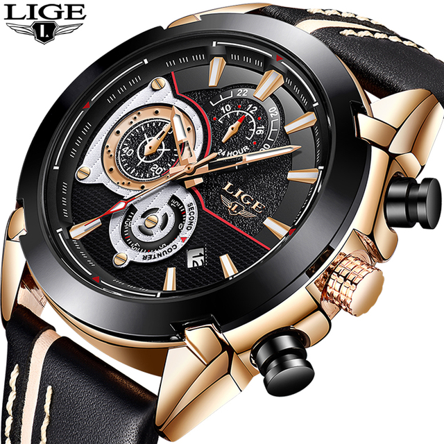 7b4fea2515f 2018 LIGE mais recente Top Luxo Marca Homens Relógios de Quartzo Dos Homens  Do Esporte Militar