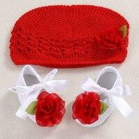 Flower Girls Baby hat crochet handmade photography props,knitted cute newborChristening cute baptism Ballerina shoes