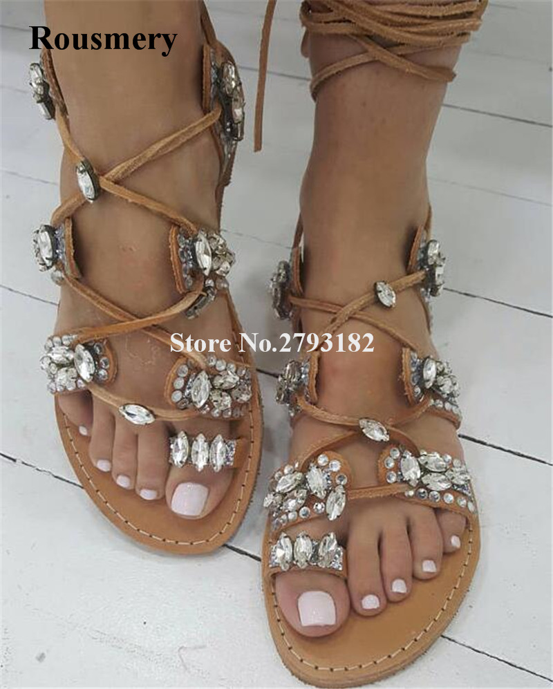 цены Women Brown Suede Leather Rhinestone Lace-up Gladiator Flat Sandals Click Toe Strap Cross Flat Sandals Bohemia Shoes