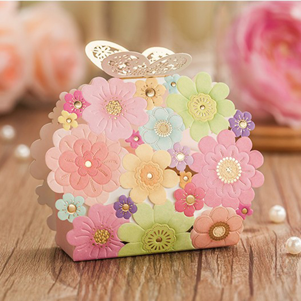 ٩(^‿^)۶100pcs Wedding Favors Gifts Box Flower Butterfly Laser Cut ...