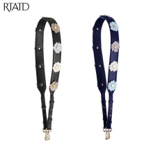 RTATD New Genuine Leather Bag Accessory Silver Gold Buckle Shoulder Straps For Bags Adjust Flower Bag Belt B175