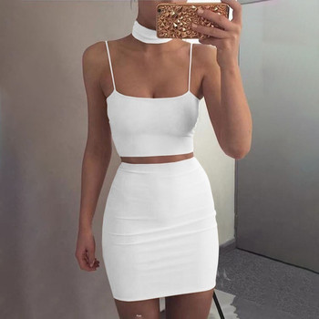 Women Summer Sexy Two Piece Sets Fashion Pure Color Sling Sleevelesss rop Tops and Short Skirts Waist Bodycon Ladies Suit Шорты