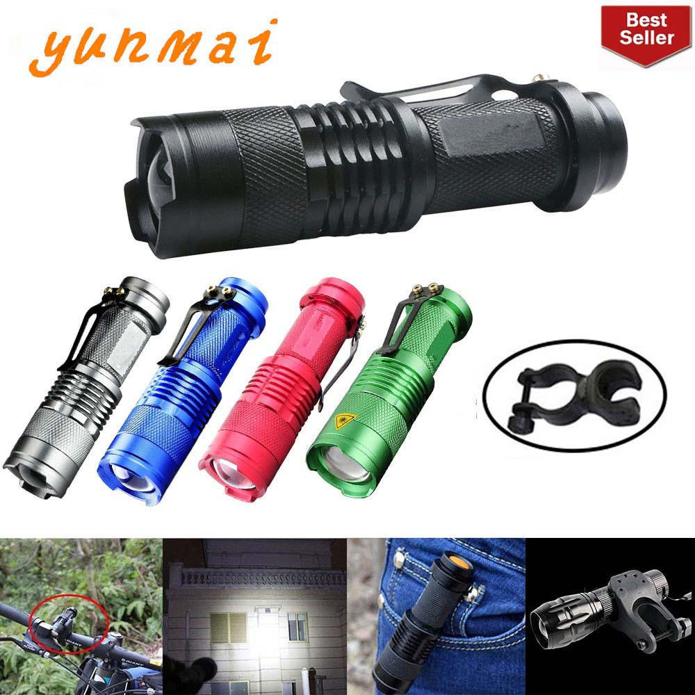 Portable LED Flashlight Q5 2000lm Mini Flashlight Waterproof LED Lanterna 5 Colors 1 Modes Zoomable LED Torch Penlight AA 14500