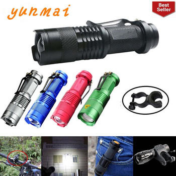 Portable LED Flashlight Q5 2000lm Mini Waterproof Lanterna 5 Colors 1 Modes Zoomable Torch penlight AA 14500