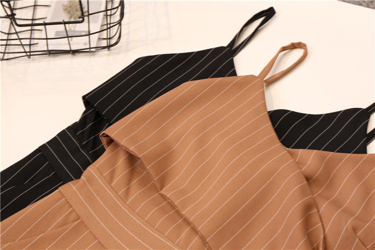 Summer Stripe Camisole Jumpsuit Women V-neck Striped Sexy High Waist Wide Leg Pants Office Ladies Red Black Overall Bodysuit 74