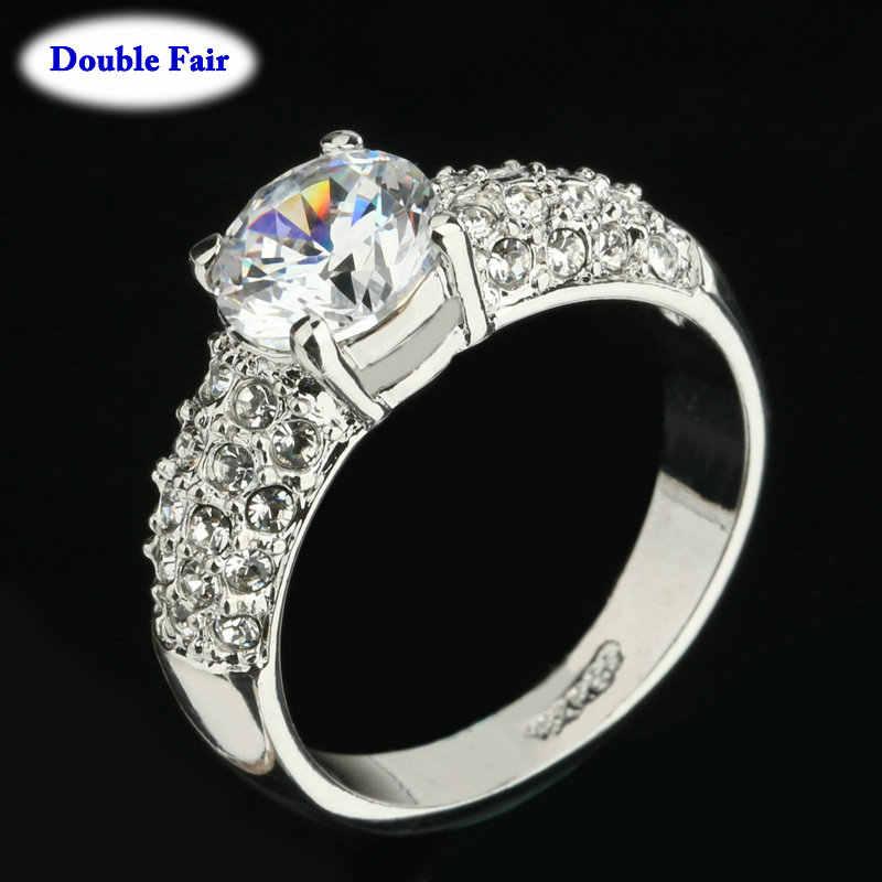 คลาสสิกงานแต่งงาน/หมั้นสำหรับผู้หญิง AAA + Cubic Zirconia คริสตัล Rose Gold สีแฟชั่นเครื่องประดับ anel DWR105M