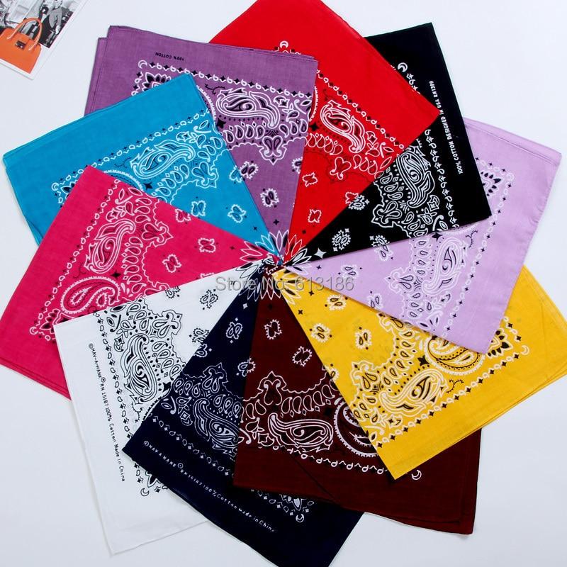 FOXMOTHER  New Hip Hop 100% Cotton 55cm*55cm Black Red Paisley Printed Bandanas For Women/Men/Boys/Girls