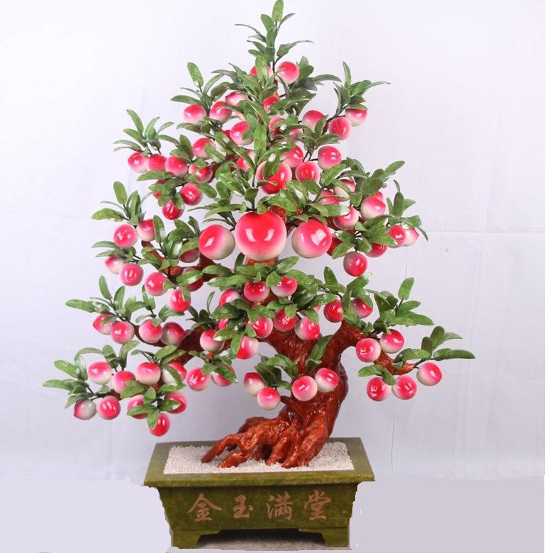 Natural jade jade crafts company 88 peach tree room villa high-grade jade plate King creative ornaments yu shua ma zongyushua s hand on disc horsehair brushes jade peach wenwan clean plate keeps bodhi