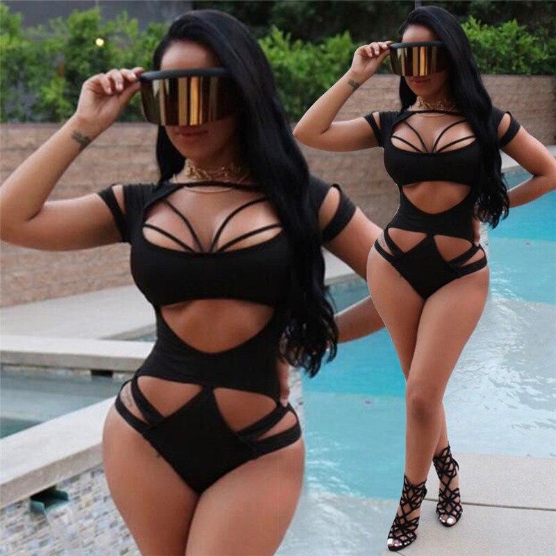 2018 Bandage Monkini Sexy Women Swiming Suit Hollow Out High Waist Women One Piece Bikinis Deep V Bikini Halter Beachwear XL