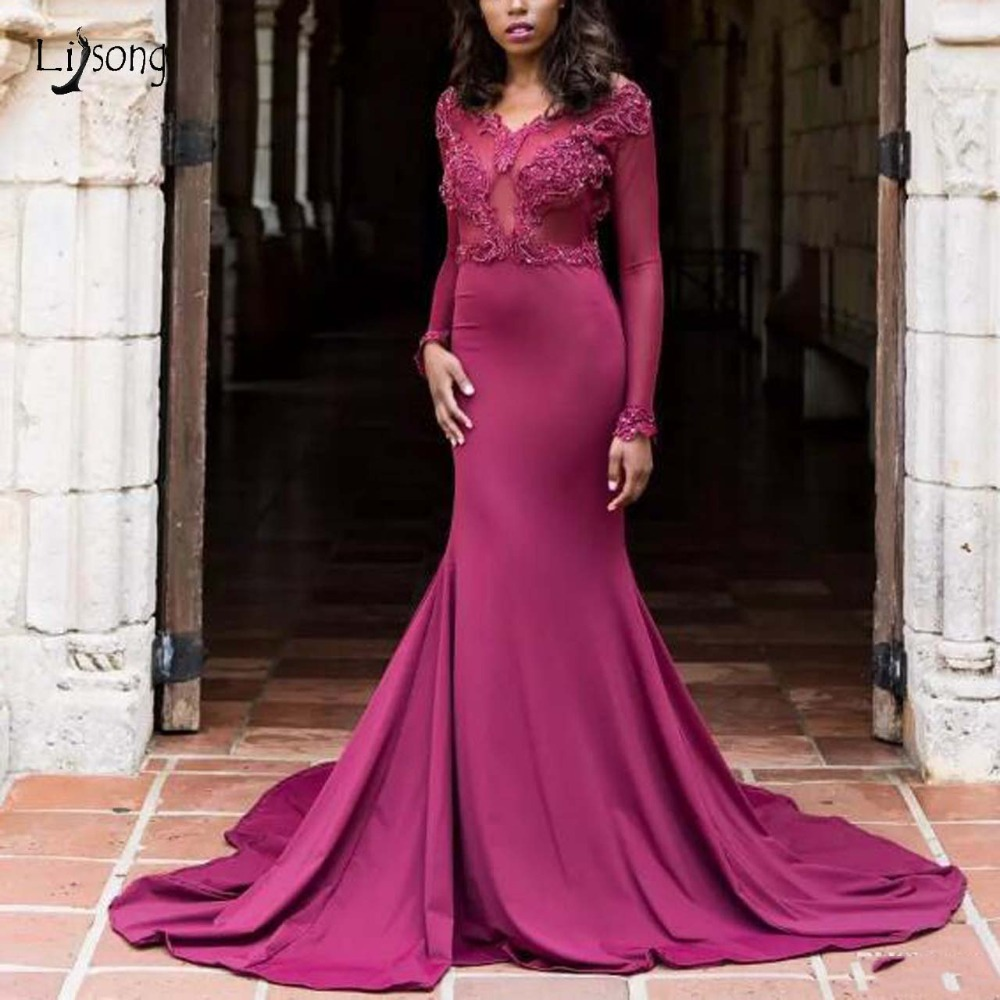 Newest African Fuchsia Mermaid   Prom     Dresses   With Full Sleeves Sexy Backless Elastic   Prom   Gowns Long Aso Ebi Lace Party   Dress