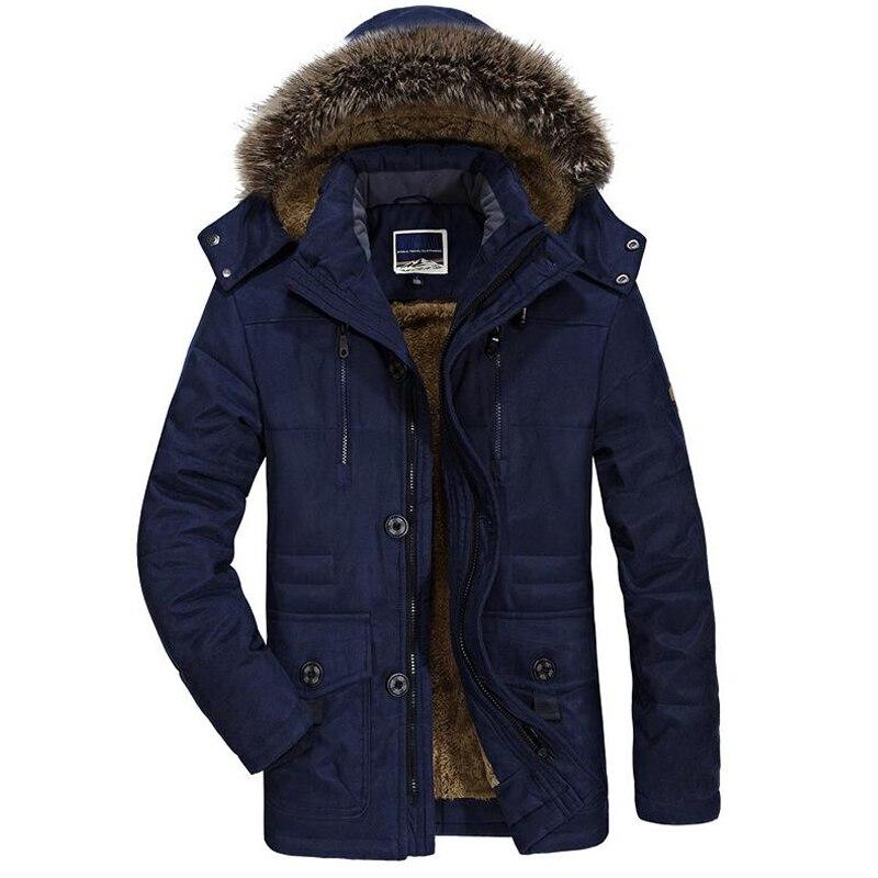 Mens Velvet Warm Coat Fashion Winter Jacket Men Thick Casual Outwear Jackets Men's Fur Collar Windproof   Parkas   Plus Size 6XL
