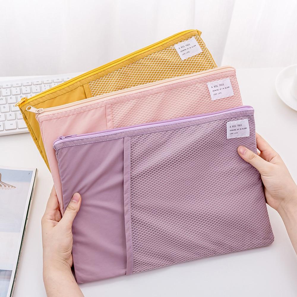A4 grille Document sac multi-fonction tissu fichier dossier titulaire stockage pour papier facture papeterie paquet poche école bureau