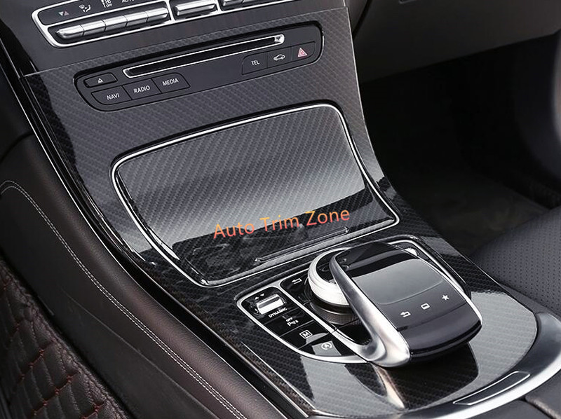 2PCS ABS Interior Gearshift Shifter Panel Cover Trim For Mercedes Benz 2015-2017 GLC X253 chrome 4x door body molding protector plate cover trim for mercedes x253 glc benz glc200 glc250 glc300 2015 2016