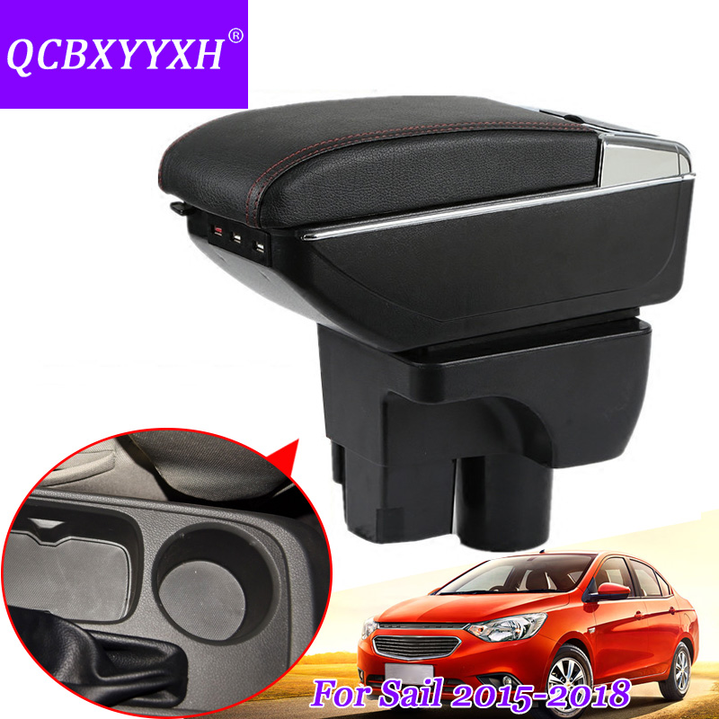 QCBXYYXH For Chevrolet Sail 3 Armrest Central Store Content Storage Box With Cup Holder Ashtray ABS Leather Accessory 2015-2018 qcbxyyxh for chevrolet sail 3 armrest central store content storage box with cup holder ashtray abs leather accessory 2015 2018