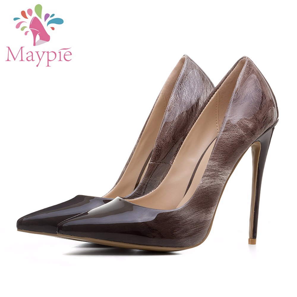 MAYPIE Shoes Woman Big Size Gradient Black Brown High Quality Fashion Mature Party Pumps 12CM Sexy Thin Heel Pointed Toe 2017 new summer women flock party pumps high heeled shoes thin heel fashion pointed toe high quality mature low uppers yc268
