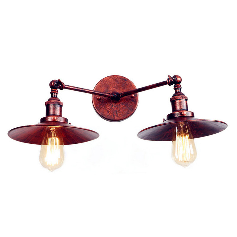 2 Heads Rust Edison LED Wall Lamp Arm Home Lighting Adjustable Loft Industrial Vintage Wall Sconce Stair Light Wandlamp brass glass wall lights led vintage edison american home stair lighting living room adjustable arm industrial wall lamp sconce