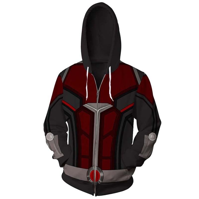 2018 Ant man and the wasp Zipper Hoodies Jacket Hoodie Sweatshirt ant-man Streetwear Hip Hop Mens Hoodies Sweatshirts US size