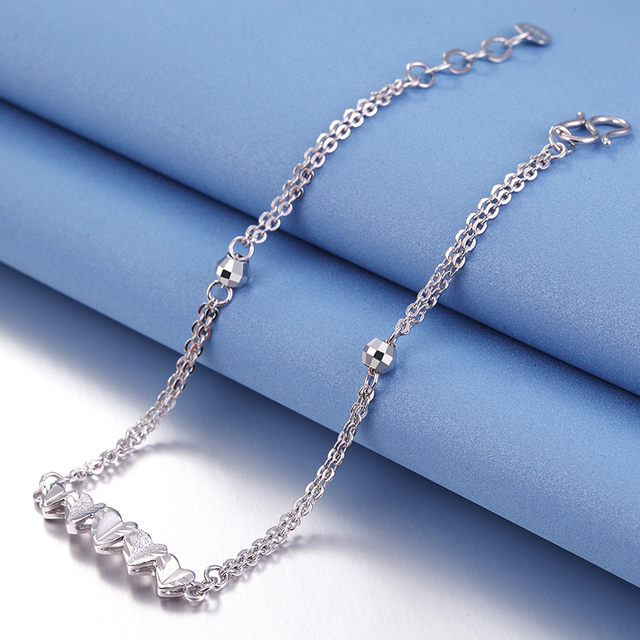 Romantic PT950 Platinum White Real Solid Gold Heart Bead Bracelets Bangles for Women Girl Female Fine Wedding Jewelry Gift 3