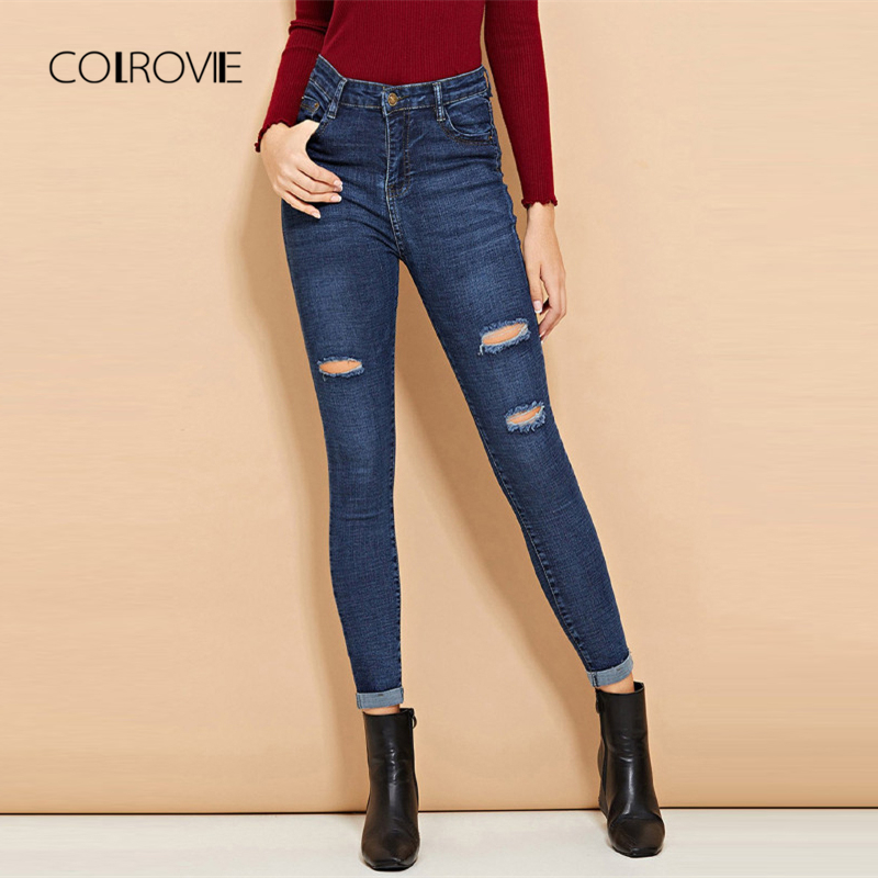 COLROVIE Blue Ripped Roll-Up Hole Casual Denim   Jeans   Woman 2018 Autumn Solid Boyfriend Women   Jeans   Female Skinny Pencil Pants