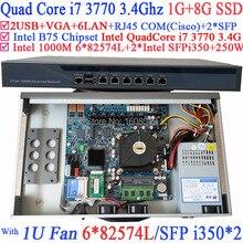 Intel B75 Quad Core i7 3770 three.4G Rack mount 1U Firewall with Eight Ports 6*1000M 82574L Gigabit Nics 2* intel i350 SFP 1G RAM 8G SSD