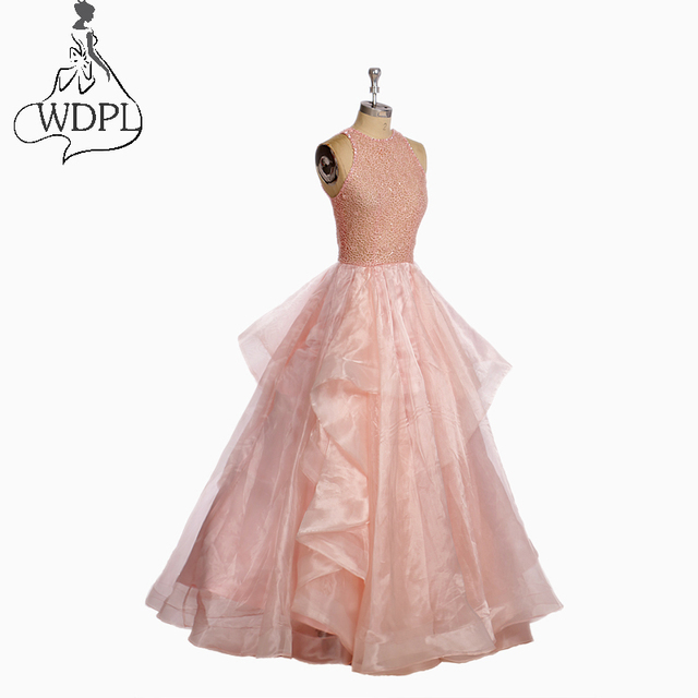 Elegant Puffy Long Prom Dresses Blush Pink Tiered Organza Backless