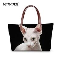 INSTANTARTS Kawaii 3D Sphinx Canadian Hairless Cat Printed Women Large Tote Bag Ladies Shopping Top Handle Bags Travel Handbags