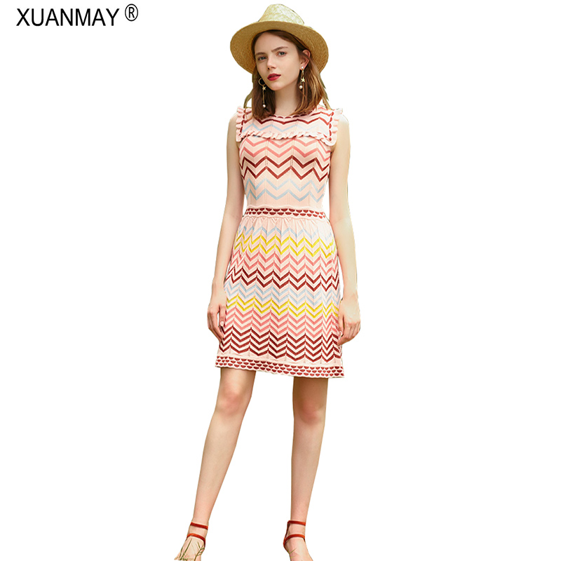 2018 Streetwear Slim Long Style Stripe Sweater Dress Brand design Summer Womens clothing Knit Pack Hip Style Sweater Dress