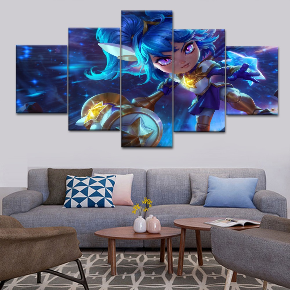 Artwork NEW Framed 5 Pieces HD Print Canvas Art League of Legend Bob Paintings Canvas Wall Art for Home Decorations Wall Decor in Painting Calligraphy from Home Garden