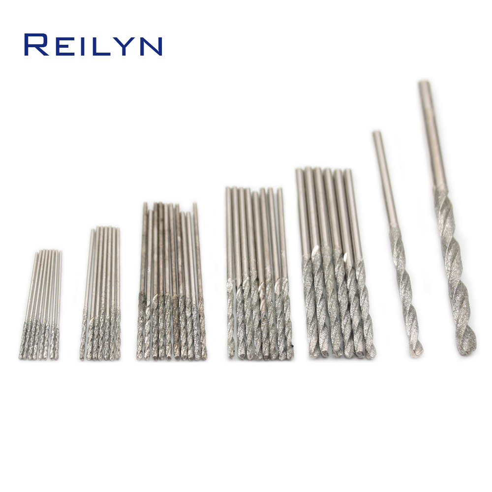 10pc Diamond Twist Drill Jade Glass Agate Drilling Hole Grinding Bits Grinding Needle Super Hard Drill Diamond Emery Twist Drill