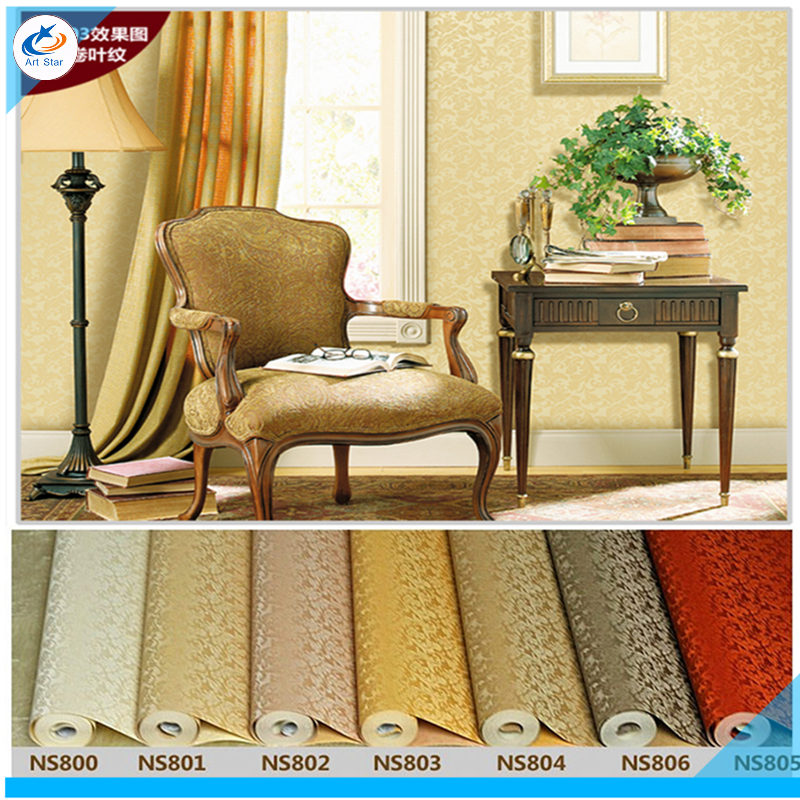 DZAS Made in China Store Free shipping 2016 new Patten light yellow color 7 color wallpaper for hotel room wedding house room wallpaper roll