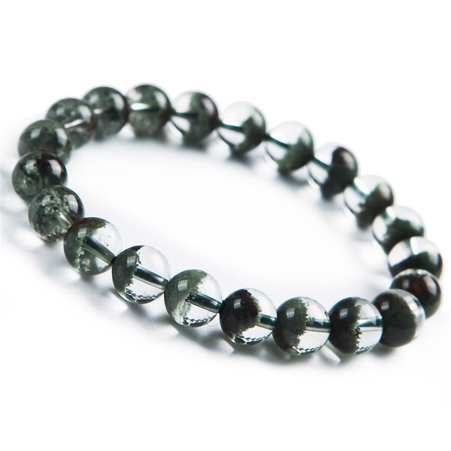 Newly Natural Green Phantom Ghost Quartz Crystal Bracelet Gems Stone Fashipn Women Round Beads Crystal Stone Bracelet 9mm