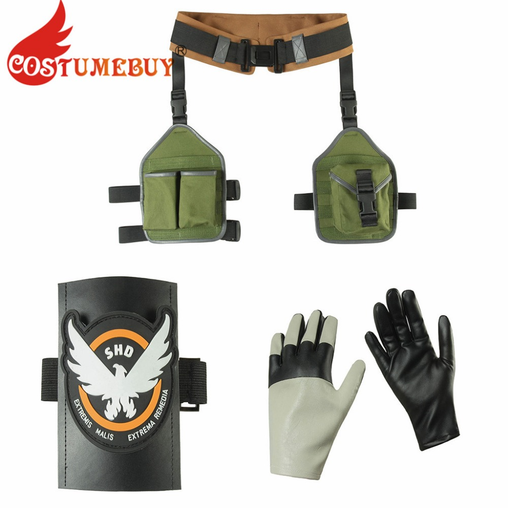 CostumeBuy Tom Clancy's The Division 2 Cosplay Arm Guard Accessories Belt With Bag Adult Women Warrior Belt With Bag Props L920