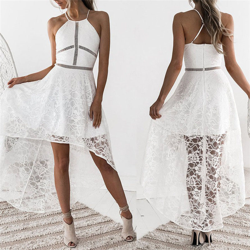 Buy Women New Lace Dress Elegant Wedding Party Sexy Dress Sleeveless Sheath Bodycon Beach Dress Halter Boho Irregular Femme Gv415