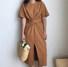brief solid Hem open fork o-neck short  sleeve waist belt lacing dress