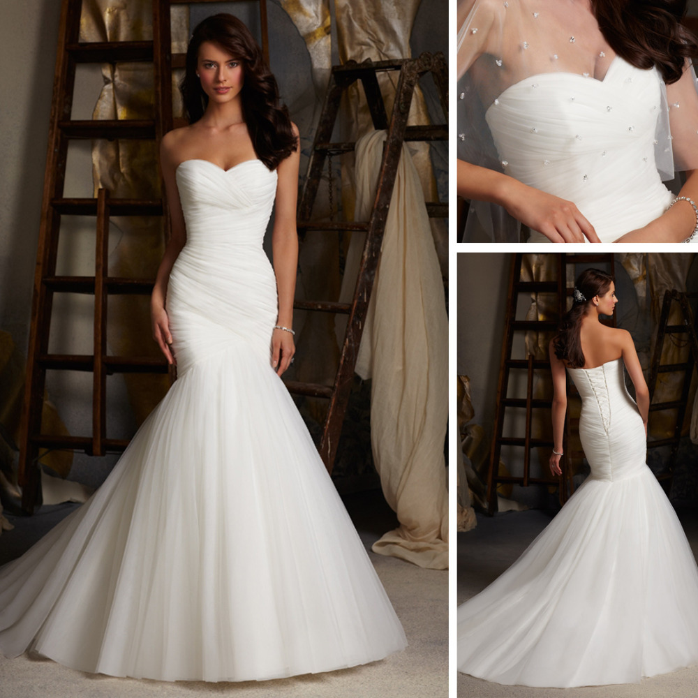 Sweetheart Neckline Lace Mermaid Wedding Dresses New 2019: WE107 2013 Ouscar Sweetheart Neckline Ruched Mermaid